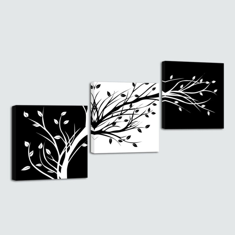 $19.90 • Buy Abstract Canvas Print Picture Paintings Home Decor Wall Art Tree Black White 3PC