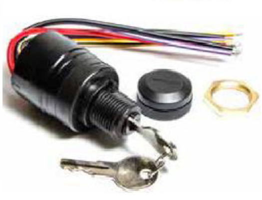 mercury ignition key switch with push to choke replaces 87-88107a5 potted  wires • 24 97