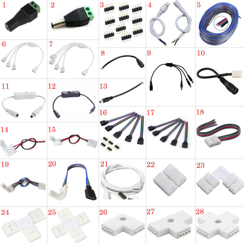 LED Strip Connector Adapter Cable PCB Clip Solderless 3528 5050 5630 3014 RGB  • 2.78$