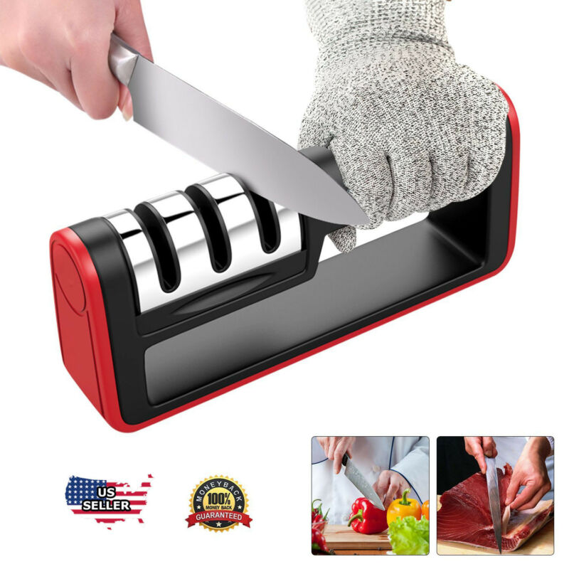 KNIFE SHARPENER Professional Ceramic Tungsten Kitchen Sharpening System Tool  • 8.45$