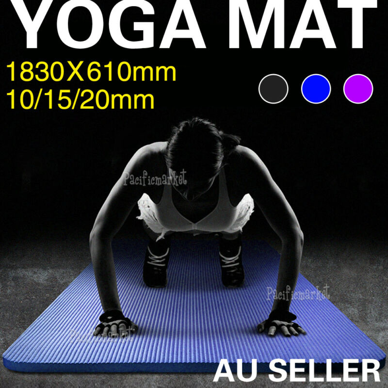 AU25.99 • Buy 10/15/20mm Thick NBR Yoga Mat Pilate NonSlip Durable Exercise Fitness Gym Pad AU