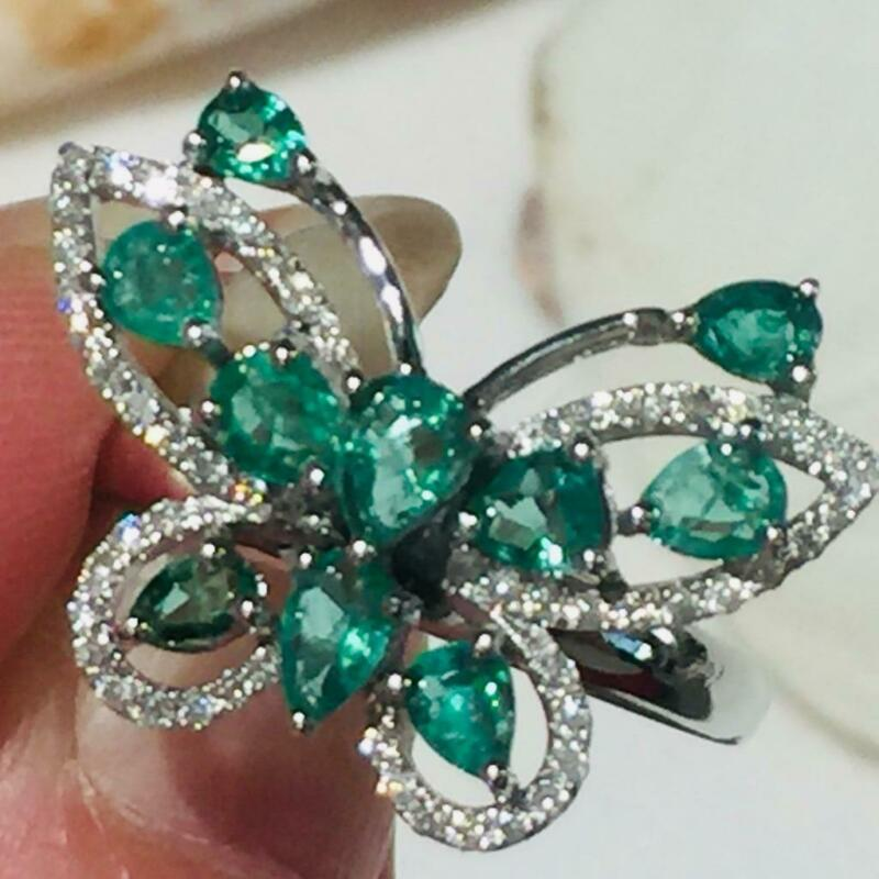 $799 • Buy Vintage Emerald 1.2 Ct 18K Solid Gold Diamond Butterfly Cocktail Ring Sz 8 R4433