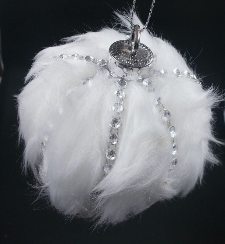 Winter White Fur & Silver Gem Ball  Wedding Decorations / Christmas Ornaments • 6.99$