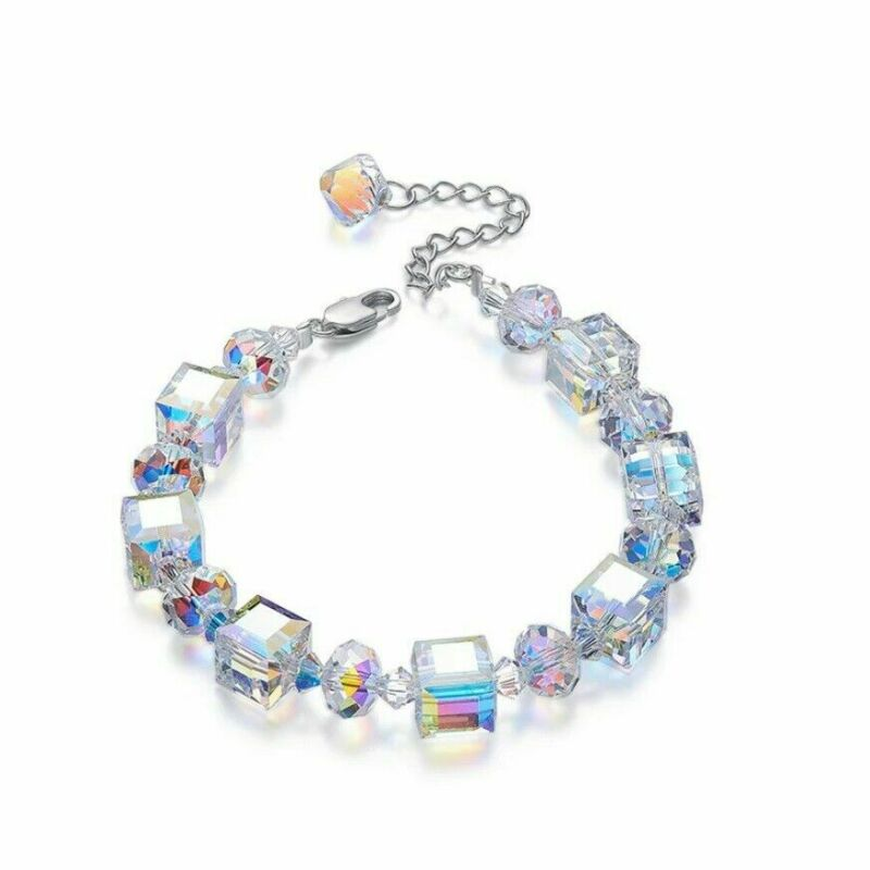 $1.29 • Buy Womens Aurora Borealis Crystal Bracelet Square Bangle Chain Adjustable 7  To 9