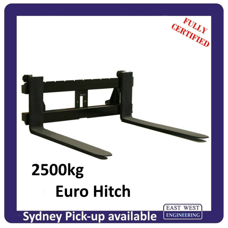AU836 • Buy EURO QUICK HITCH PALLET FORKS For Tractor Class 2 2500kg - FULLY CERTIFIED