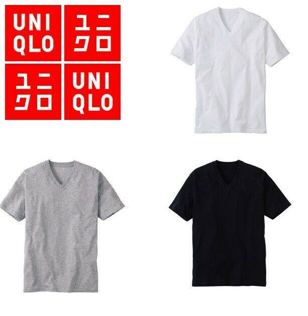 AU10 • Buy Uniqlo DRY V-neck Short Sleeve T-shirt Mens Size S M L Black Grey Orange Pink