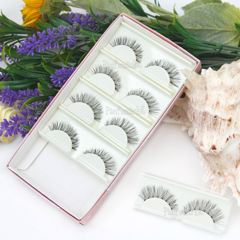 AU6.59 • Buy 5 Pairs False Eyelashes Mink Hair Handmade Natural Eye Lashes Makeup Extension
