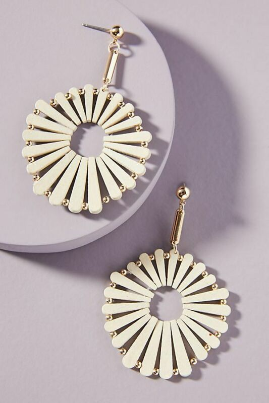$ CDN31.48 • Buy Anthropologie Wooden Windmill Drop Earrings Light Wash NWT SOLD OUT