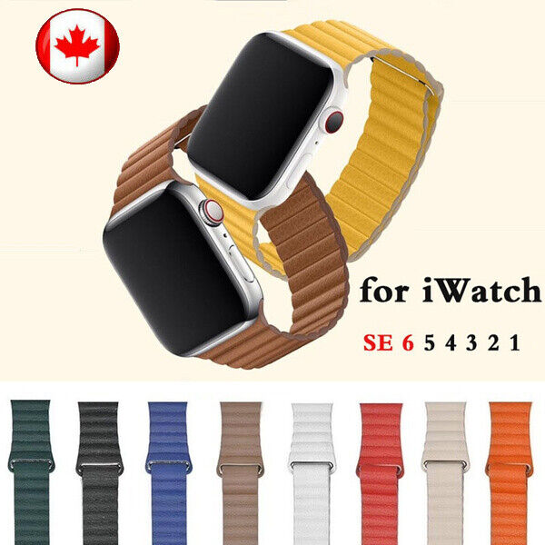 $ CDN13.99 • Buy Magnetic Leather  Watch Band Strap For Apple Watch Series 5 4 3 2 38/40/42/44MM