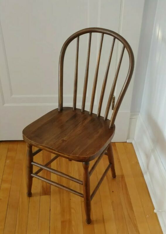 $94.99 • Buy Antique Wooden Chair 3/4 Size Rustic Farm House Spindles