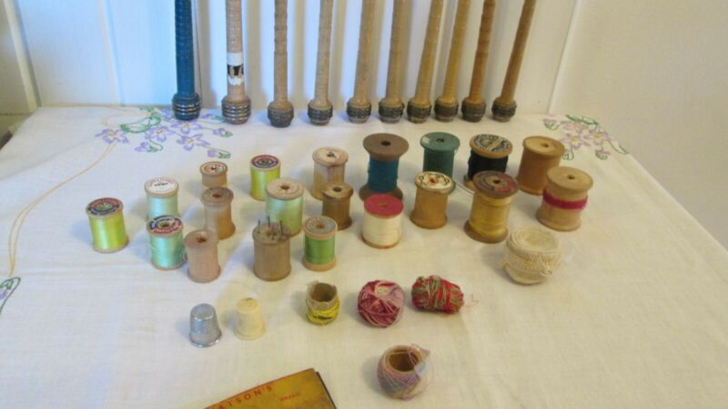 $42.99 • Buy Large Lot Vintage Textile Industrial Wooden Thread Sewing Spindles Spools 30 +