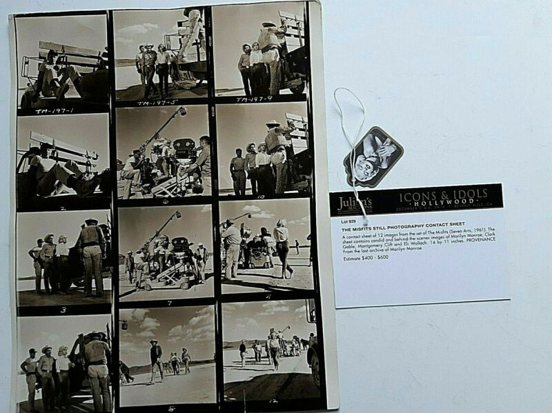 Marilyn Monroe Personally Owned Used Contact Sheet W 12 Photos Julien Auction • 1,075$