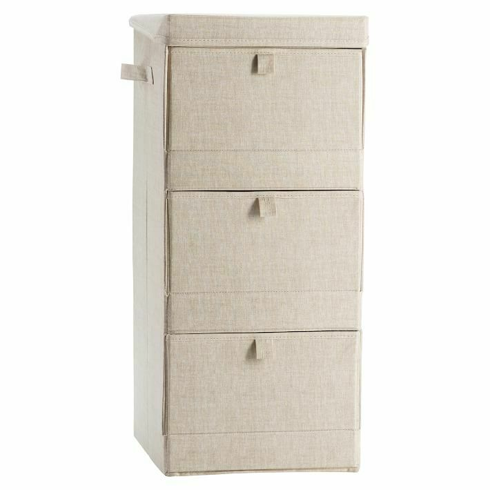 $33.20 • Buy NWT Pottery Barn PB Teen Solid Canvas 3 Tier Storage Cubby Bin, Linen Natural