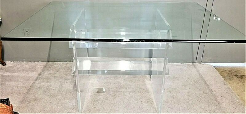 $799 • Buy 2 Pc Vintage MCM LUCITE ACRYLIC DINING Table With Beveled/Rounded Edge Glass Top
