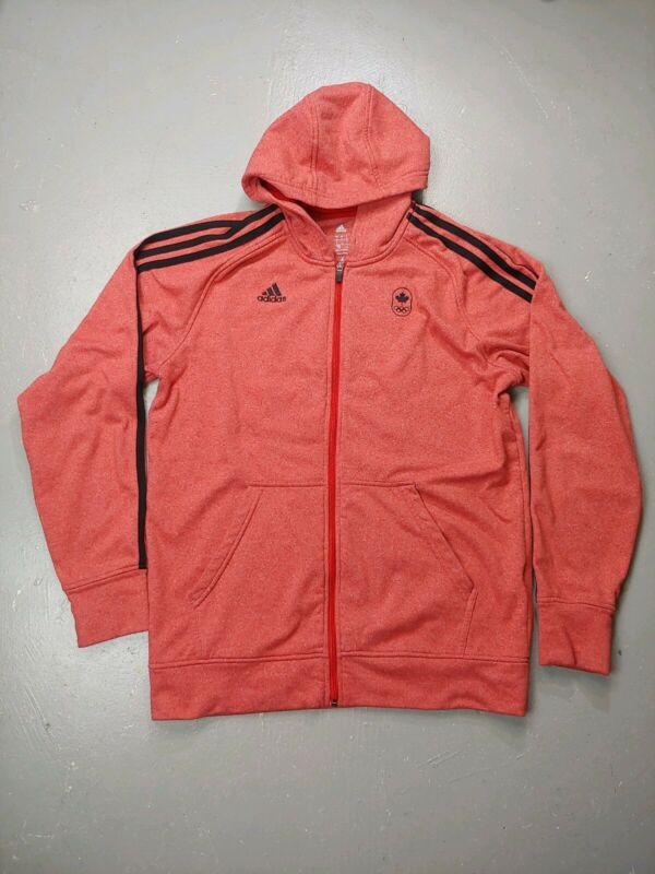 $ CDN21.99 • Buy Adidas Hoodie Track Zip Up Size L Trefoil Stripe Soft Shell Red Canada Team