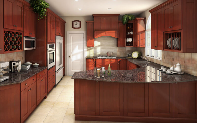 $1985 • Buy All Solid Wood Kitchen Cabinets 10x10 FULLY ASSEMBLED Shaker Brandy Birch