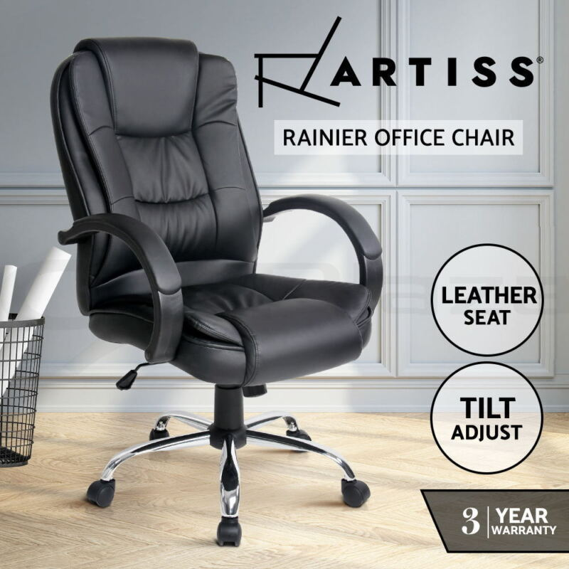 AU119 • Buy Artiss Office Chair Computer Chairs Executive Leather Seating Home Work Black