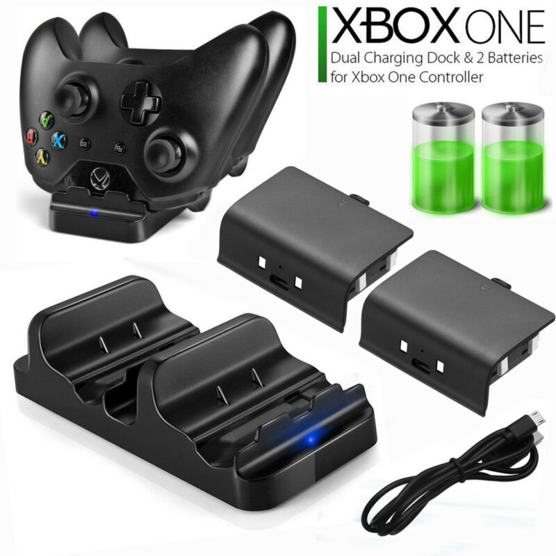 XBOX ONE Dual Charging Dock Station Controller Charger W/ 2 Rechargeable Battery • 11.45$