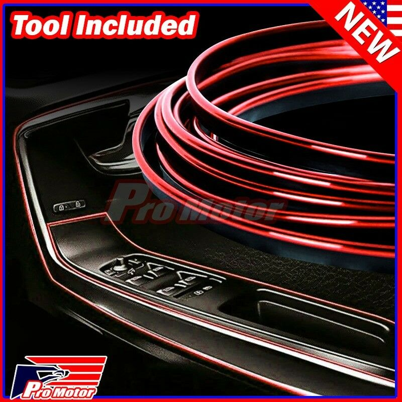 $6.59 • Buy Red 5M Car Interior Door Gap Edge Line Insert Molding Trim Strip Deco Accessory