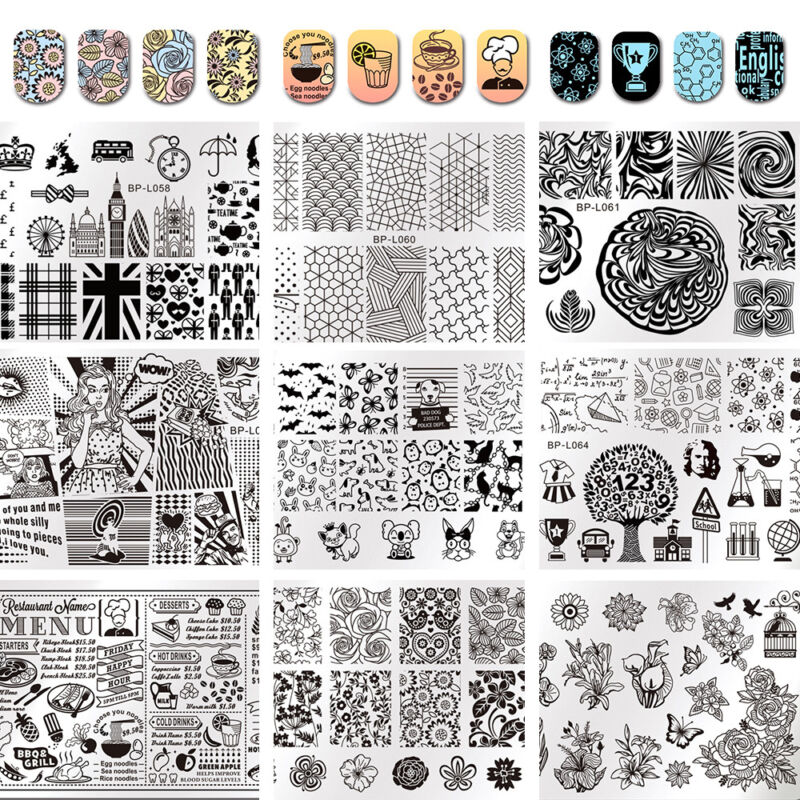 $1.29 • Buy Born Pretty Nail Art Stamping Plates Image Stamp Template Rectangle Square Round