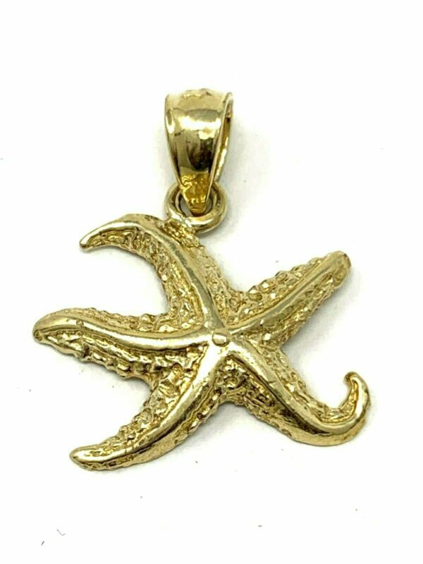 14k Yellow Gold Star Fish Sea Life Charm Pendant 1.4g • 63.49$