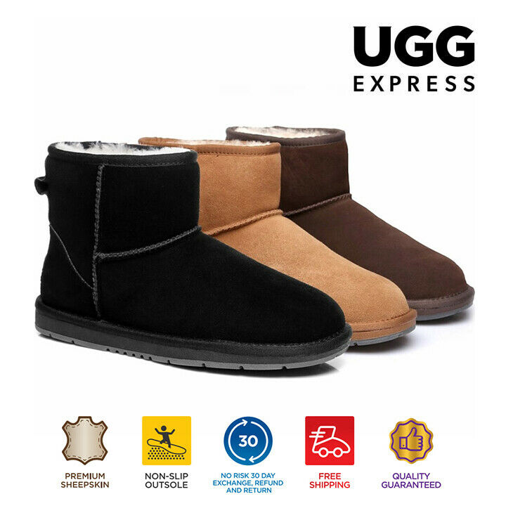 AU72 • Buy UGG Mini Classic Ankle Boots, Suede Upper & Sheepskin Inner, Non-Slip Sole