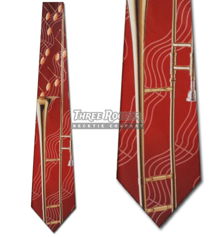 Trombone Ties Instrument Neckties Mens Music Notes Orchestra Band Neck Tie NWT • 15$