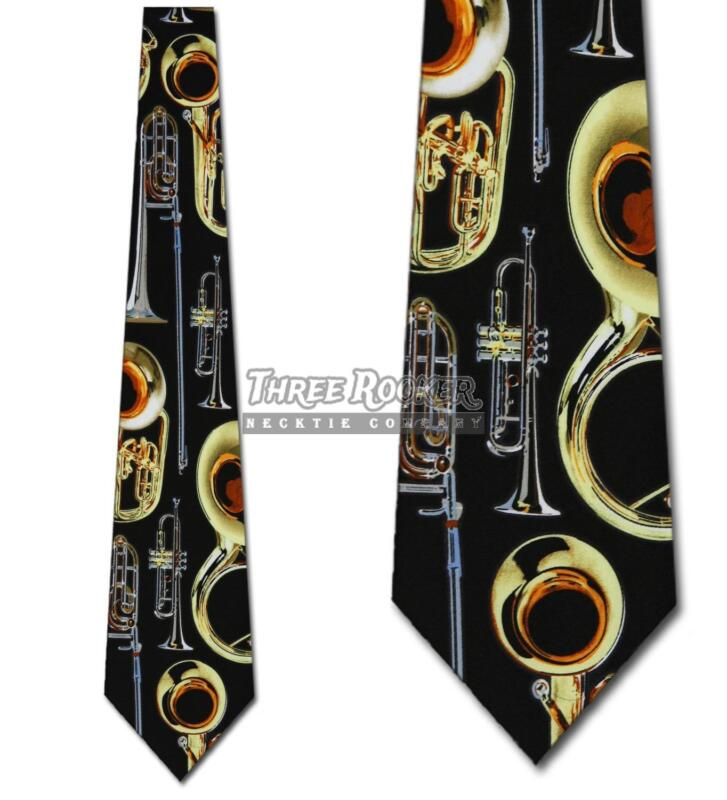 Brass Instrument Tie Music Neckties Mens Trombone Trumpet Neck Ties Brand New • 15$