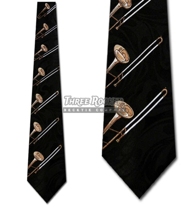 Trombone Tie Musician Neckties Mens Instruments Brass Neck Ties NWT • 12$