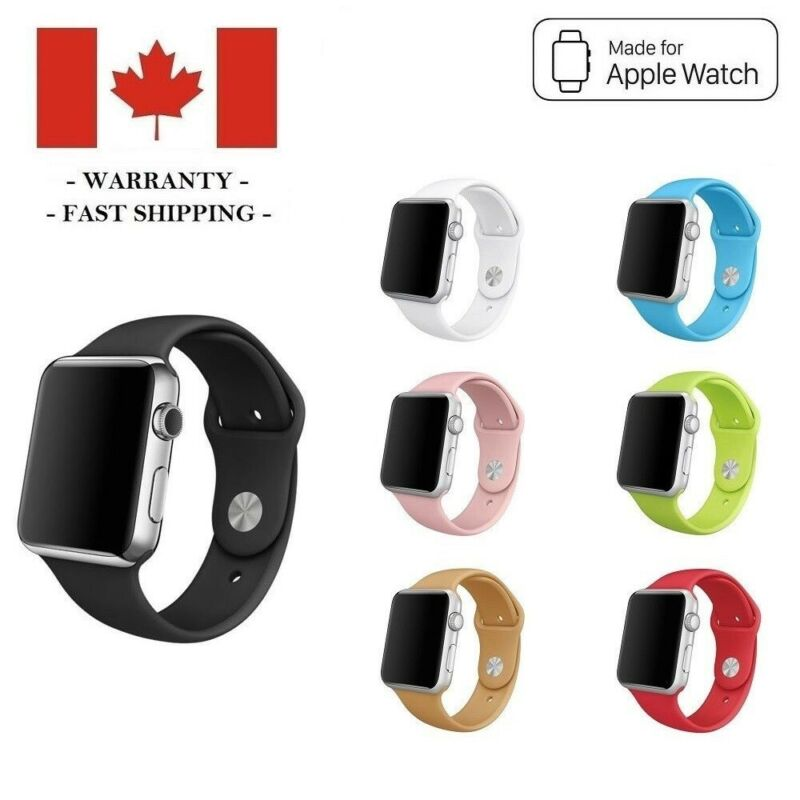 $ CDN4.95 • Buy 38mm 42mm Silicone Sports Band Replacement Strap For Apple Watch Series 3 2 1