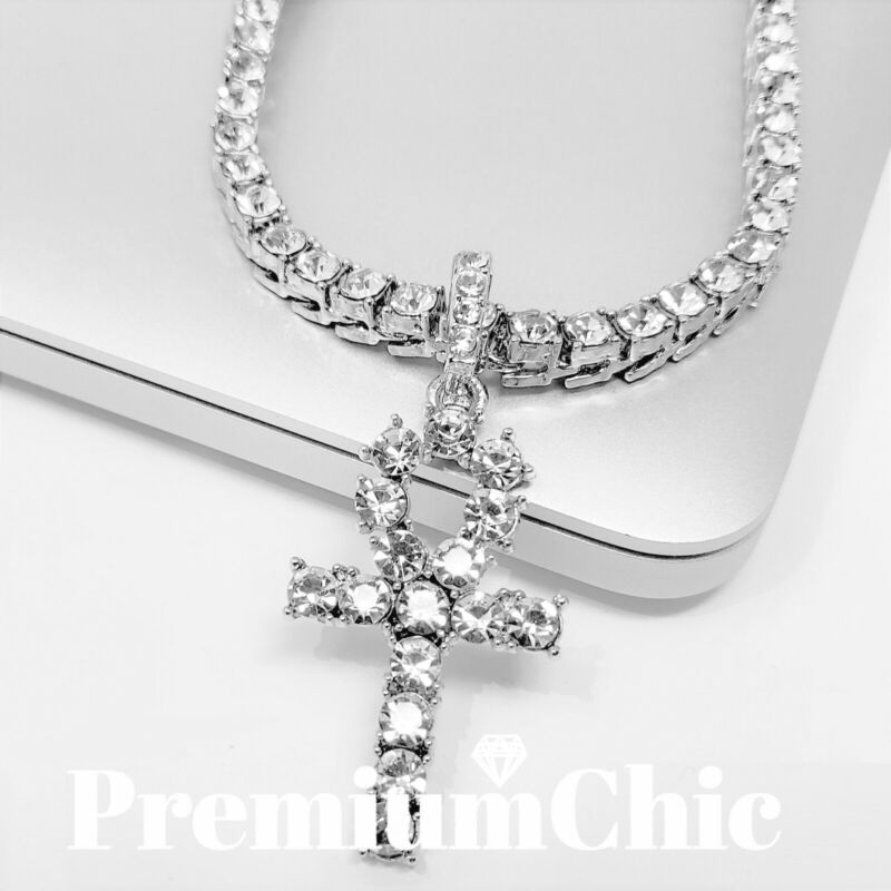 $14.99 • Buy ANKH Cross Pendant Tennis Chain 14K Silver Gold Rose Hip Hop ICED Necklace