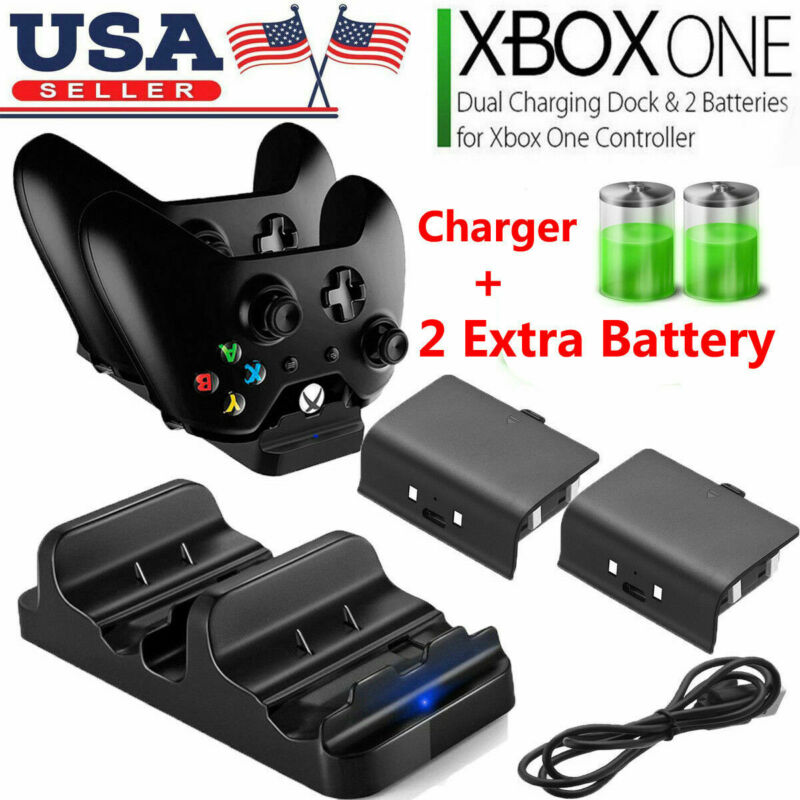 XBOX ONE Dual Charging Dock Station Controller Charger + 2 Rechargeable Battery • 10.90$