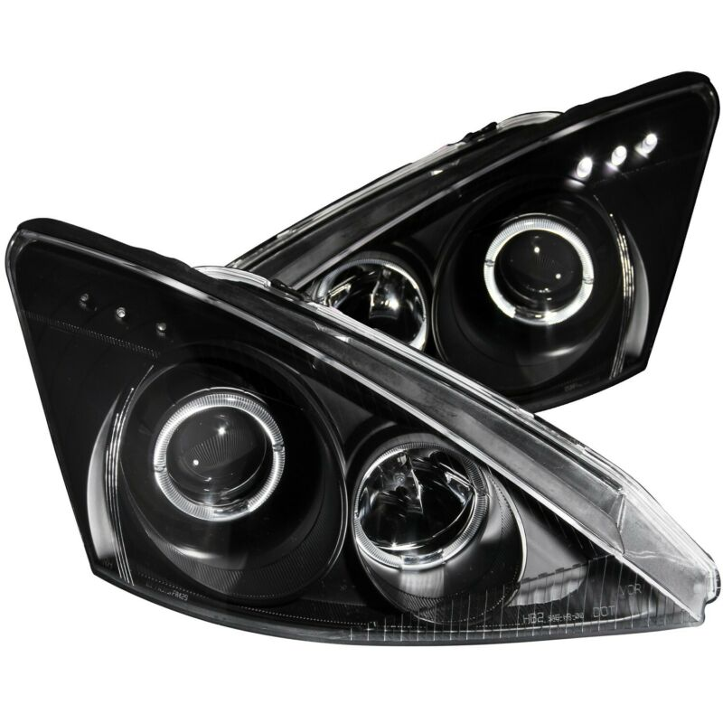 ANZO PROJECTOR HEADLIGHTS BLACK W/ HALO & LED FOR 00-04 FORD FOCUS • 265.35$