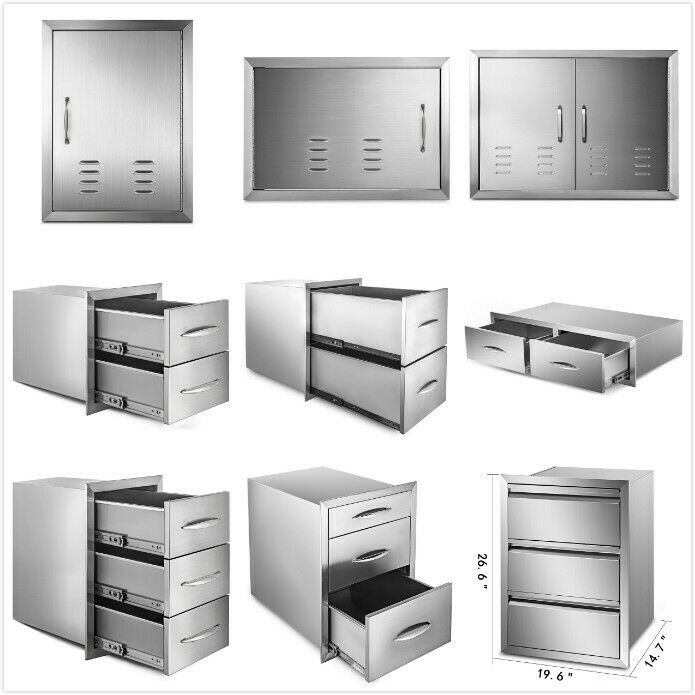 Outdoor Kitchen BBQ Island Components Stainless Steel Access Door And Drawer • 50.51$
