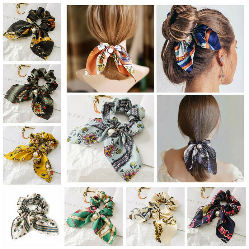 $1.49 • Buy Solid Floral Bow Scrunchie Hair Band Elastic Hair Ties Rope Scarf Accessories