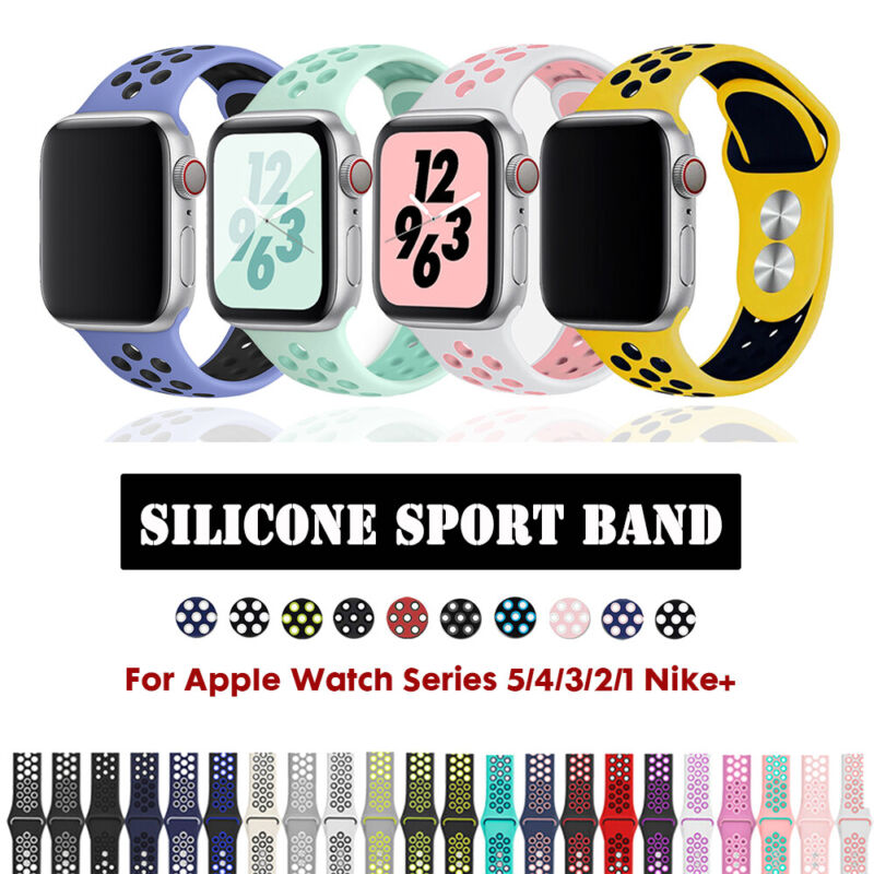 $ CDN6.02 • Buy 40/44mm 38/42mm Silicone Sports IWatch Band Strap For Apple Watch Series 5 4 3 2