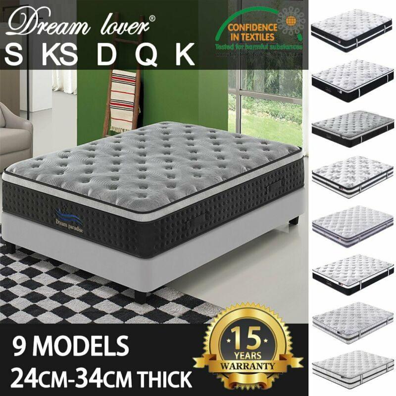 AU109.65 • Buy DREAM LOVER Mattress Queen Double King Single Pocket Spring Foam Bed