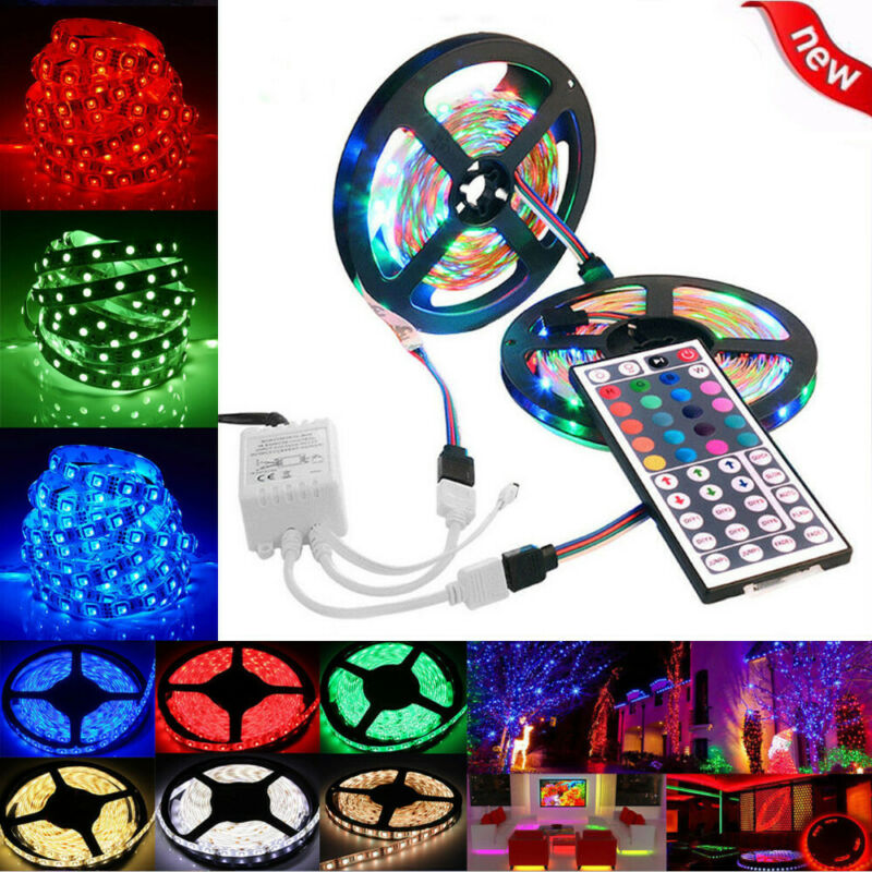 10M 3528 SMD RGB 600 LED Lighting Strips 44 Key Remote Controller For TV, Room • 11.29$