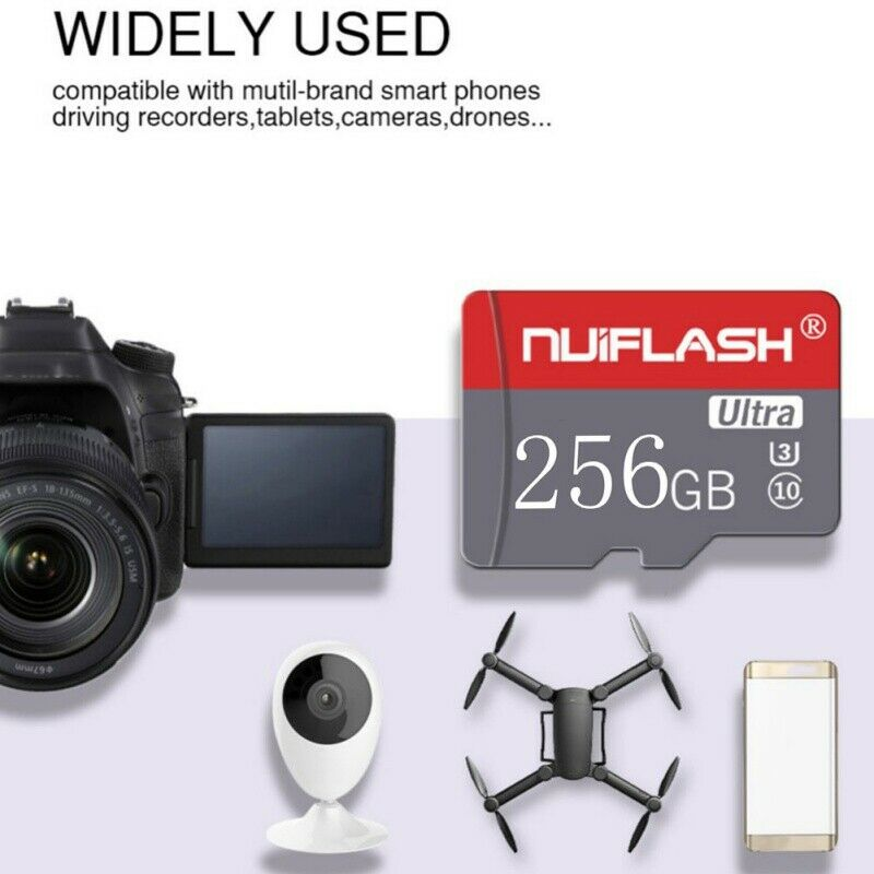 $11.32 • Buy HOT! 256GB TF-Flash Memory Cards SD-Card U3 C10 Card For Phone Tablets Cameras