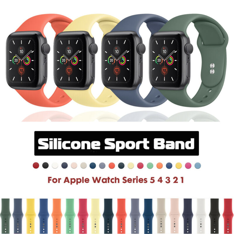 $ CDN4.98 • Buy Silicone Sports IWatch Band Strap For Apple Watch 40/44mm 38/42mm Series 5 4 3 2