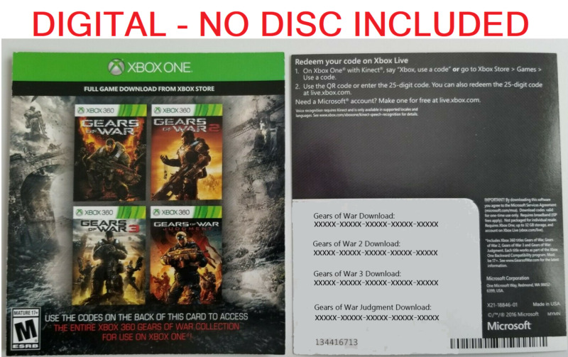 $17.50 • Buy Gears Of War Collection (1,2,3,Judgement) Xbox 360 / Xbox One