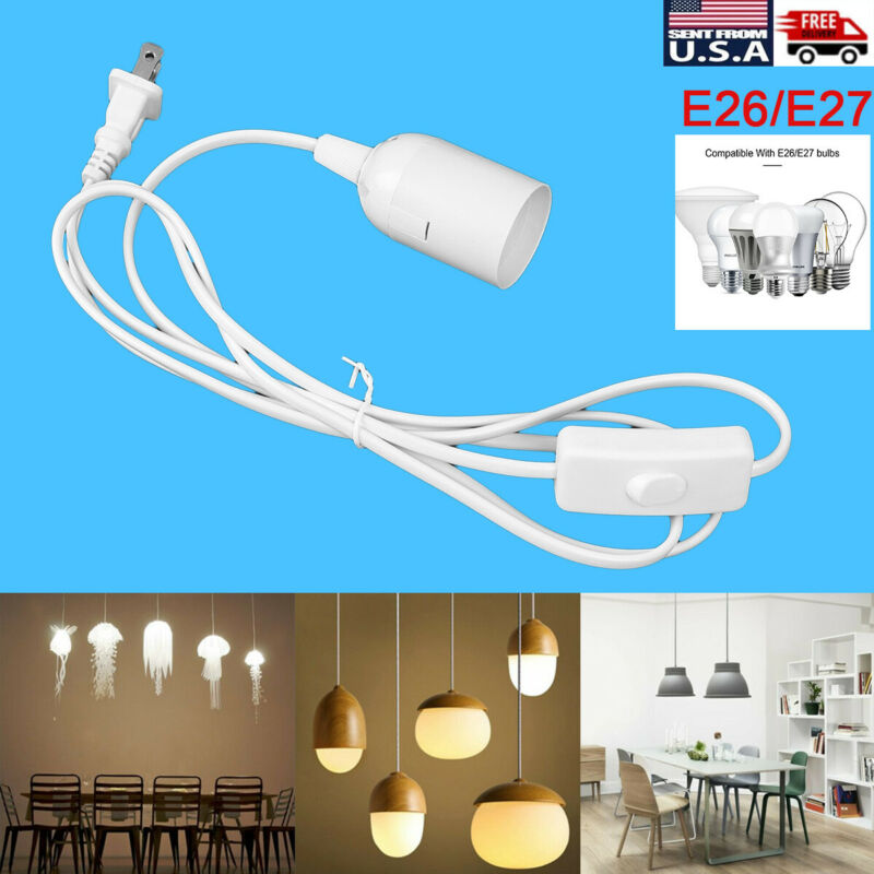 $7.99 • Buy E26/E27 Bulb Socket Extension Hanging Pendant Light Lamp Cord Cable With Switch