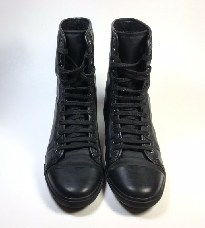 "Zara Mans Black Lace Up Boots Shoes Mens Size 8 Euro 41 Combat Grunge 8"" High • 22.50$"