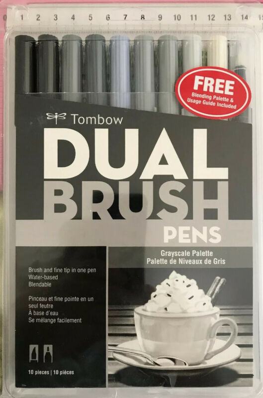 AU35 • Buy Tombow Dual Brush Pens Set ~ Grayscale Palette ~ Water-based Blendable ~ 10pc