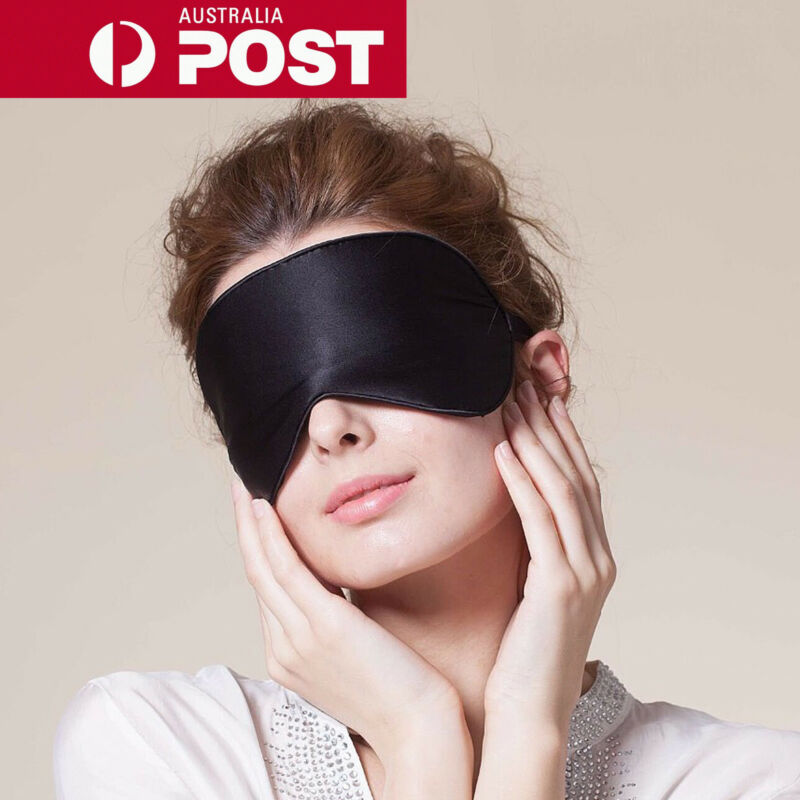 AU6.99 • Buy 100% Pure Silk Sleeping Sleep Soft Eye Mask Blindfold Lights Out Travel Relax