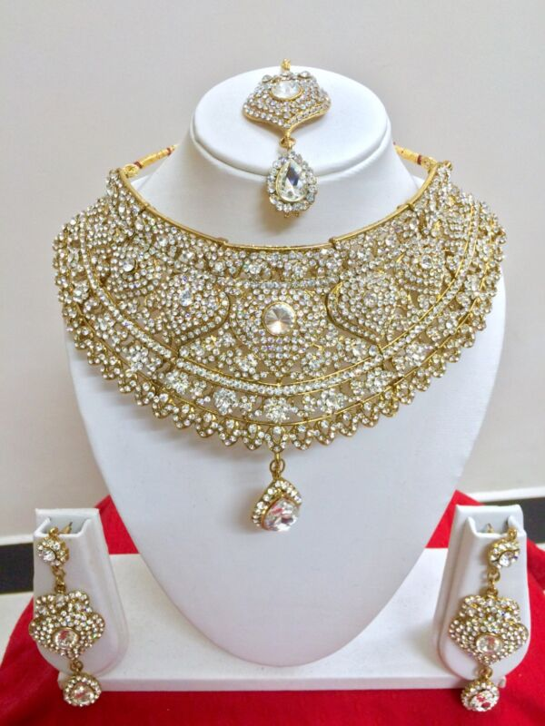 $38.99 • Buy Indian Bollywood Style Fashion Gold Plated Bridal Jewelry Necklace Set
