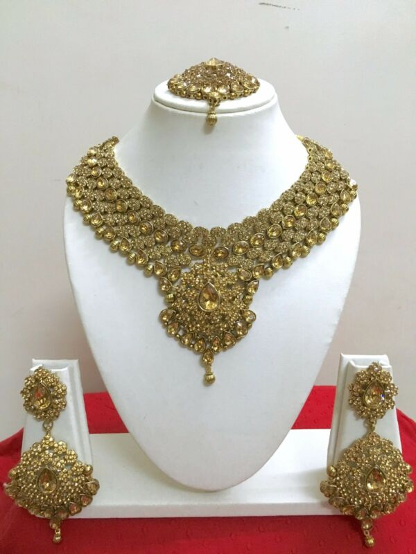 Indian Bollywood Style Designer Gold Plated Fashion Bridal Jewelry Necklace Set • 39.99$