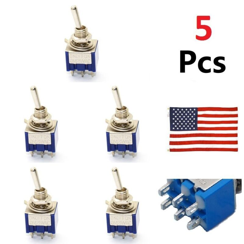 US 5 Pcs 3 Position Mini MTS-203 6-Pin DPDT ON-OFF-ON 6A 125VAC Toggle Switches • 3.99$