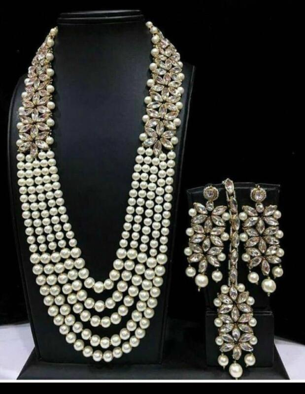 Indian Designer Necklace Earrings Pearl Bridal Wedding Gold Fashion Jewelry Set  • 18.66$