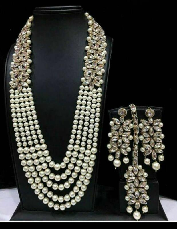 $18.66 • Buy Indian Designer Necklace Earrings Pearl Bridal Wedding Gold Fashion Jewelry Set